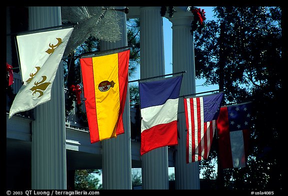 Facade with the four historic flags which have been flown over Louisiana. Louisiana, USA (color)