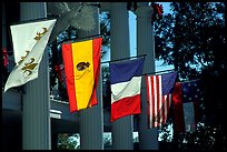 Facade with the four historic flags which have been flown over Louisiana. Louisiana, USA
