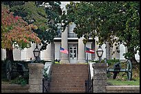 Cannons in front of the old courthouse museum. Vicksburg, Mississippi, USA (color)