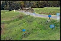 Blue (union) lines markers during civil war pivotal battle, Vicksburg National Military Park. Vicksburg, Mississippi, USA (color)
