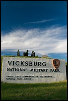 Entrance sign, Vicksburg National Military Park. Vicksburg, Mississippi, USA (color)