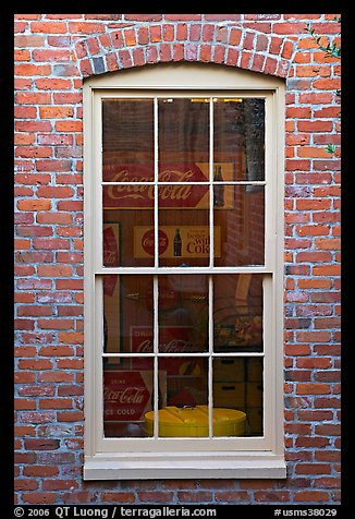 Coca Cola memorabilia seen from window. Vicksburg, Mississippi, USA