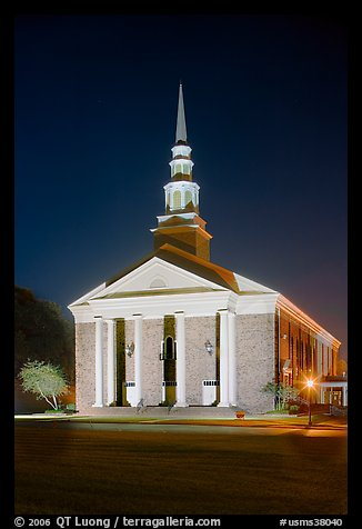 First Baptist Church in Federal style, by night. Natchez, Mississippi, USA (color)