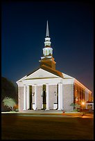 First Baptist Church in Federal style, by night. Natchez, Mississippi, USA