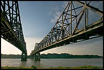 Bridges spanning the Mississippi River. Natchez, Mississippi, USA ( color)