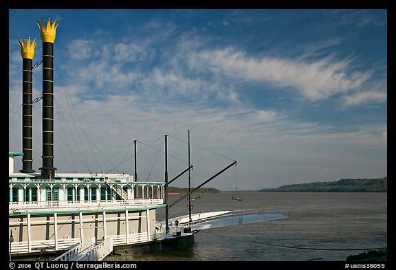 Riverboat and Mississippi River. Natchez, Mississippi, USA (color)