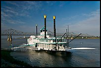 Riverboat and bridge over the Mississippi River. Natchez, Mississippi, USA (color)