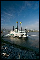 Riverboat, Mississippi River, and bridge, morning. Natchez, Mississippi, USA