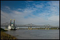 Mississippi River, paddle steamer, and bridge. Natchez, Mississippi, USA (color)
