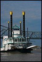 Riverboat and bridge. Natchez, Mississippi, USA (color)