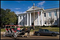 Horse carriage in front of the courthouse. Natchez, Mississippi, USA (color)