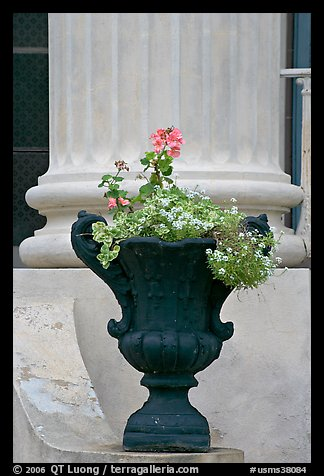 Vasque and column, Magnolia Hall. Natchez, Mississippi, USA (color)