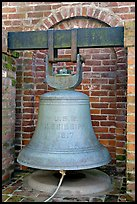 Bell from the USS Mississippi in Rosalie garden. Natchez, Mississippi, USA (color)