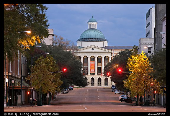 Street leading to Old Capitol at dusk. Jackson, Mississippi, USA