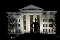 Statue of Andrew Jackson silhouetted against the City Hall at night. Jackson, Mississippi, USA