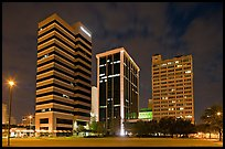Downtown High rise buildings at night. Jackson, Mississippi, USA (color)