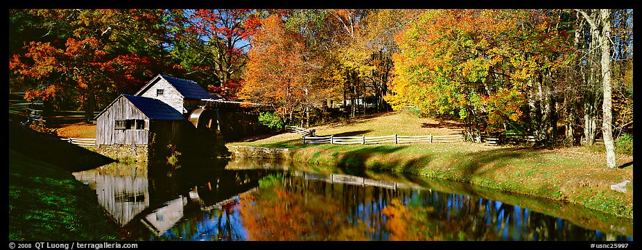 panoramic picture  photo  mill and pond in autumn  virginia