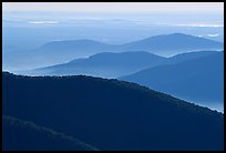 Ridges in haze, Blue Ridge Parkway. Virginia, USA ( color)