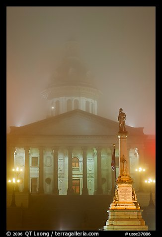 Monument and state capitol in fog at night. Columbia, South Carolina, USA