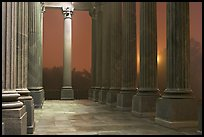 Columns and fog by night, state capitol. Columbia, South Carolina, USA