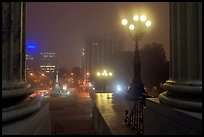 Streets on foggy night seen from state capitol. Columbia, South Carolina, USA (color)