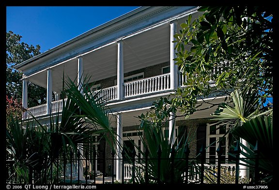 Facade of house with balconies and columns. Charleston, South Carolina, USA (color)