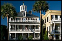 Antebellum house with flag and octogonal tower. Charleston, South Carolina, USA
