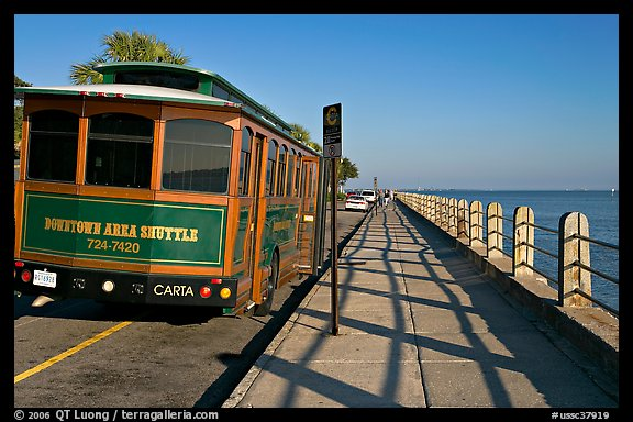 Waterfront promenade with shuttle bus. Charleston, South Carolina, USA (color)