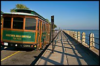 Waterfront promenade with shuttle bus. Charleston, South Carolina, USA ( color)
