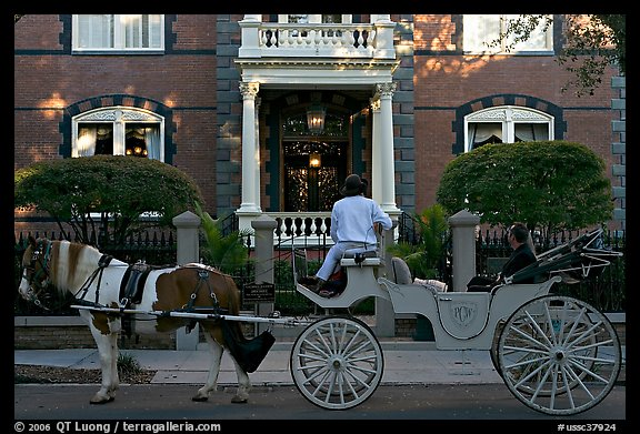 Horse carriage in front of historic mansion. Charleston, South Carolina, USA (color)