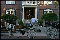 Horse carriage in front of historic mansion. Charleston, South Carolina, USA ( color)