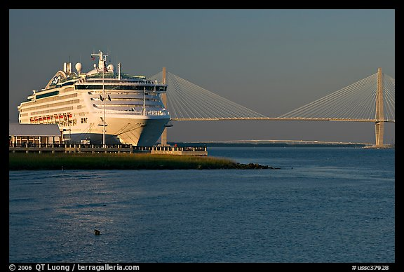 PicturePhoto Cruise Ship And Suspension Bridge Of Cooper River - Cruise ships out of charleston south carolina