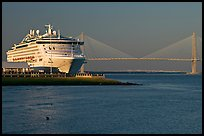 Cruise ship and suspension bridge of Cooper River. Charleston, South Carolina, USA