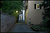 Alley at dusk. Charleston, South Carolina, USA