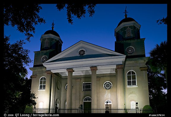 First Presbyterian Church, 1731, at twilight. Charleston, South Carolina, USA (color)