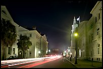 Four Corners of Law (church, courthouses, city hall) at night. Charleston, South Carolina, USA