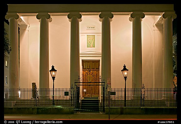Museum facade at night. Charleston, South Carolina, USA (color)