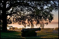 Cannon, and bench overlooking Beaufort Bay at sunrise. Beaufort, South Carolina, USA ( color)