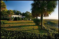 House with yard by the bay. Beaufort, South Carolina, USA (color)