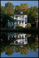 House reflected in pond. Beaufort, South Carolina, USA (color)