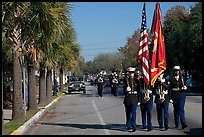 Marines carrying flag during parade. Beaufort, South Carolina, USA