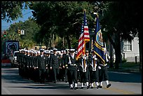 US Navy marching during parade. Beaufort, South Carolina, USA