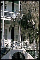 House entrance with spanish moss. Beaufort, South Carolina, USA ( color)