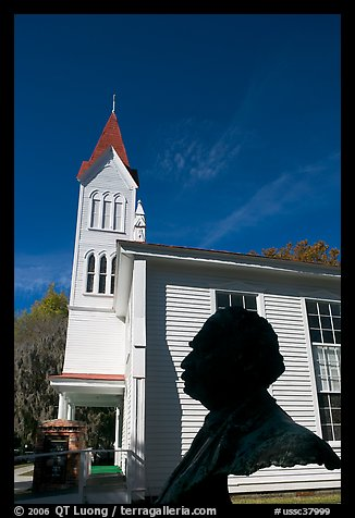 Robert Smalls bust and Tabernacle Baptist Church. Beaufort, South Carolina, USA (color)