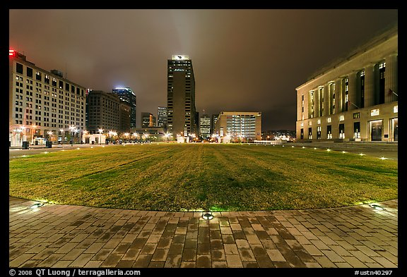 Bicentenial Park and old courthouse by night. Nashville, Tennessee, USA (color)