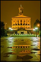 State Capitol and reflectoins by night. Nashville, Tennessee, USA (color)