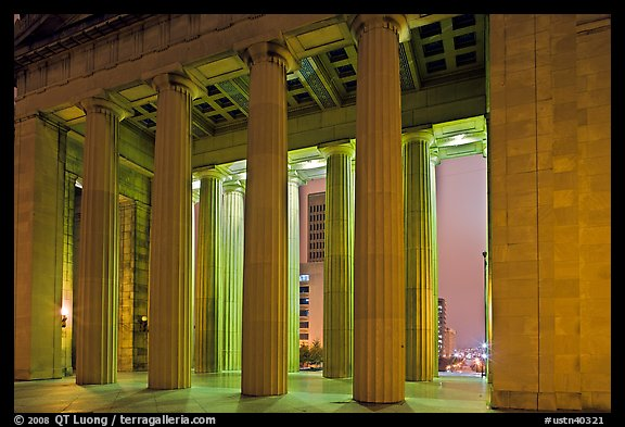Columns of War memorial by night. Nashville, Tennessee, USA (color)