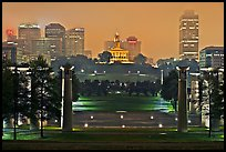 Night skyline with State Capitol from Bicentenial State Park. Nashville, Tennessee, USA (color)