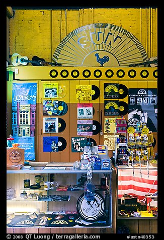 Vinyl records on display, Sun record company. Nashville, Tennessee, USA (color)