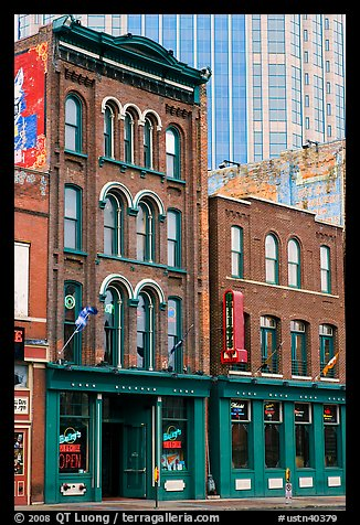 Old brick buildings and modern high rise buildings, Broadway. Nashville, Tennessee, USA (color)
